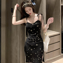 Dress Summer 2021 black S,M,L Short skirt singleton  Sleeveless commute One word collar High waist Solid color Socket One pace skirt other camisole 18-24 years old Type X Korean version bow 30% and below