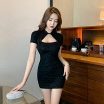 Dress Summer 2021 black S,M,L Short skirt singleton  Short sleeve commute stand collar High waist Solid color Socket One pace skirt other Hanging neck style 18-24 years old Type X Retro 30% and below