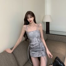 Dress Summer 2021 Picture color Average size Short skirt singleton  Sleeveless commute One word collar High waist Socket One pace skirt routine camisole 18-24 years old Type X Korean version Open back, tie dye 6098# 30% and below