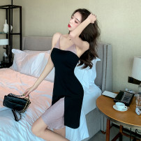 Dress Spring 2021 black S,M,L Short skirt singleton  Sleeveless Sweet V-neck High waist Solid color Socket Ruffle Skirt other camisole 18-24 years old Type X Splicing 30% and below Ruili