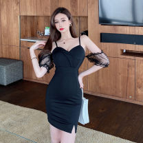 Dress Summer 2021 black S,M,L Short skirt singleton  Short sleeve commute V-neck High waist Solid color zipper One pace skirt other camisole 18-24 years old Type H Korean version Gauze 30% and below other