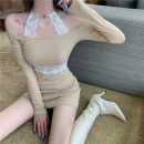 Dress Spring 2021 Apricot, blue S, M Short skirt singleton  Long sleeves commute Polo collar High waist Solid color Socket One pace skirt routine Others 18-24 years old Type H Korean version backless 30% and below knitting cotton