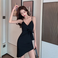 Dress Summer 2021 black S,M,L Short skirt singleton  Sleeveless commute V-neck High waist Solid color zipper Irregular skirt other camisole 18-24 years old Type X Korean version Bow, open back, lace up 91% (inclusive) - 95% (inclusive) other