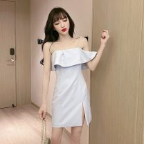 Dress Summer 2021 Light sky blue S,M,L Short skirt singleton  Sleeveless Sweet One word collar High waist Solid color zipper Pencil skirt Lotus leaf sleeve camisole 18-24 years old Type H Open back, Ruffle 30% and below Chiffon cotton princess