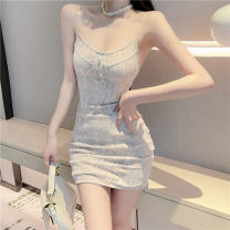 Dress Summer 2021 Picture color S,M,L Short skirt singleton  Sleeveless Sweet One word collar High waist Solid color Socket One pace skirt other camisole 18-24 years old Type X backless 30% and below Lace Mori