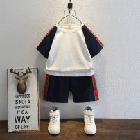 suit Bab Castle White Navy 90cm 100cm 110cm 120cm 130cm 140cm male summer leisure time Short sleeve + pants 2 pieces Thin money There are models in the real shooting Socket nothing Solid color cotton Travel Chinese Mainland
