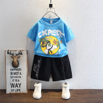 suit Bab Castle White blue 90cm 100cm 110cm 120cm 130cm 140cm male summer leisure time Short sleeve + pants 2 pieces Thin money There are models in the real shooting Socket nothing Cartoon animation cotton Expression of love