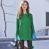 sweater Winter 2020 S M L XL green Long sleeves Socket singleton  Medium length other 95% and above Crew neck Regular commute routine Solid color Straight cylinder Regular wool Keep warm and warm 25-29 years old Enchanting Empress thread wool Other 100% zipper