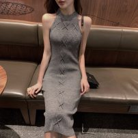 Dress Summer of 2019 Grey, pink, black Average size Short skirt singleton  Sleeveless High waist Solid color other straps 18-24 years old Other / other