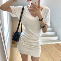 Dress Spring 2021 White, black Average size Short skirt Short sleeve commute V-neck High waist Solid color Socket One pace skirt routine Others 25-29 years old Type A Other / other Korean version fold 31% (inclusive) - 50% (inclusive) knitting cotton
