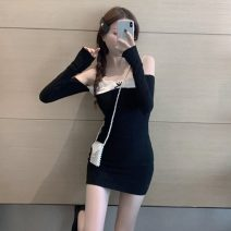 Dress Autumn 2020 black S, M Short skirt singleton  Long sleeves Sweet One word collar High waist Solid color Socket One pace skirt routine camisole 18-24 years old Type H Other / other Splicing 31% (inclusive) - 50% (inclusive) brocade other Ruili