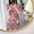 Dress Autumn 2021 Decor S,M,L,XL Short skirt singleton  Short sleeve commute V-neck High waist Decor zipper A-line skirt routine Others 18-24 years old Type A Korean version Ruffle, print More than 95%