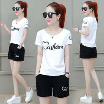 T-shirt 590 # black love + pants, 590 # white love + pants, 101 @ black stripe M,L,XL,2XL,3XL Summer 2020 Short sleeve Crew neck Two piece set routine commute polyester fiber 86% (inclusive) -95% (inclusive) 18-24 years old Korean version youth letter Print, pocket