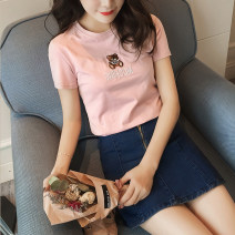 T-shirt M,L,XL,2XL Summer of 2018 Short sleeve Crew neck Self cultivation routine commute cotton 31% (inclusive) - 50% (inclusive) 18-24 years old Korean version originality Animal design Embroidery