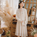 Dress Autumn 2020 Apricot two-piece set, blue two-piece set, apricot dress, blue dress S,M,L,XL Mid length dress Two piece set Long sleeves commute V-neck Loose waist Solid color Socket A-line skirt Lotus leaf sleeve Others 18-24 years old Type A Other / other literature Embroidery 3614110# cotton