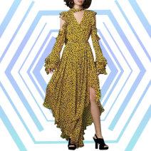 Dress Spring 2021 Blue (micro 15817401290), yellow (micro 15817401290) M,L,S longuette singleton  Long sleeves V-neck High waist Broken flowers zipper Irregular skirt Other / other W15817401290