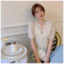 Lace / Chiffon Summer 2020 Off white S, M Short sleeve commute singleton  Self cultivation have cash less than that is registered in the accounts V-neck puff sleeve Korean version 96% and above