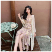 Dress Summer 2021 Purple Lace suspender skirt, lace long cardigan S. M, l, average size Mid length dress Two piece set Sleeveless commute One pace skirt camisole Korean version More than 95% other other