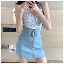 skirt Summer 2021 S,M,L Light blue, black Short skirt commute High waist Denim skirt Solid color Type A More than 95% other other zipper Korean version