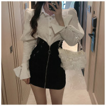 skirt Spring 2021 S,M,L Pink shirt, white shirt, black skirt Short skirt commute High waist Solid color WK002533 More than 95% other other Korean version