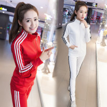 Casual suit Spring of 2018 Rose red white red purple green blue black M [85-100kg] l [100-115kg] XL [115-125] 2XL [125-140 3XL [140-155] Three bars