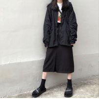 Windbreaker Autumn of 2019 S. M, average size Black, 284 black skirt Long sleeves routine Medium length commute zipper Hood routine letter Straight cylinder Korean version Other / other 18-24 years old printing 31% (inclusive) - 50% (inclusive) other