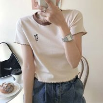 T-shirt Apricot, blue Average size Summer 2020 Short sleeve Crew neck Self cultivation have cash less than that is registered in the accounts routine commute cotton 96% and above 18-24 years old Korean version youth Cartoon animation