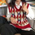 sweater Autumn of 2019 Average size Picture color Sleeveless Socket singleton  Regular acrylic fibres 95% and above V-neck Regular commute routine diamond Straight cylinder Regular wool Keep warm and warm 18-24 years old Other / other fold acrylic fibres