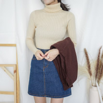 Wool knitwear Winter of 2018 Average size Long sleeves singleton  Socket nylon 30% and below Regular routine commute Self cultivation High collar routine Solid color Socket Korean version 18-24 years old Other / other thread