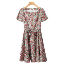 Dress Summer 2021 Decor S,M,L,XL,2XL Mid length dress singleton  Short sleeve commute Crew neck middle-waisted Solid color zipper A-line skirt routine Others 30-34 years old Type A Retro Pocket, lace up, zipper, print More than 95% brocade cotton