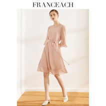Dress Summer 2021 Black Pink royal blue S M L XL XXL Middle-skirt singleton  three quarter sleeve commute Crew neck Loose waist Solid color Socket A-line skirt pagoda sleeve Others 30-34 years old Type A Franceach / FA Han · Yi Chi Simplicity Pocket strap button S19075429 More than 95% other silk