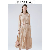 Dress Spring 2021 Apricot S M L XL XXL longuette singleton  Long sleeves commute V-neck Loose waist Solid color Single breasted Big swing shirt sleeve Others 30-34 years old Type A Franceach / FA Han · Yi Chi Ol style Stitched button belt S21012963 91% (inclusive) - 95% (inclusive) Silk and satin
