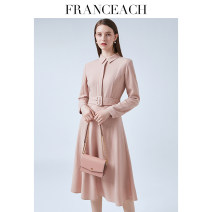 Dress Spring 2021 Pink (pre-sale 10 days) black (pre-sale 10 days) S M L XL XXL Mid length dress singleton  Long sleeves commute Polo collar High waist Solid color Single breasted Big swing shirt sleeve Others 30-34 years old Type A Franceach / FA Han · Yi Chi Ol style Strap button zipper S20092938