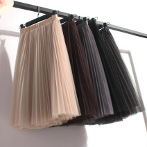 skirt Summer of 2018 Average size Medium gray white light gray black apricot Brown dark gray Mid length dress commute High waist Princess Dress Solid color Type A 18-24 years old 51% (inclusive) - 70% (inclusive) other other Pleated yarn net lady