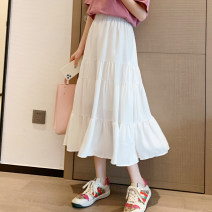 skirt Spring 2021 M, L Black, white, blue, green longuette fresh High waist Pleated skirt Solid color Type A 18-24 years old 91% (inclusive) - 95% (inclusive) Chiffon polyester fiber Splicing