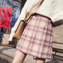 skirt Autumn 2020 S,M,L,XL Short skirt Versatile High waist A-line skirt lattice Type A 18-24 years old More than 95% Wool Other / other other