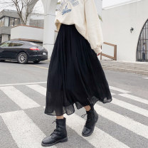 skirt Spring 2021 M, L Black, off white, brown Mid length dress Versatile High waist A-line skirt Solid color Type A 18-24 years old More than 95% Chiffon Other / other polyester fiber