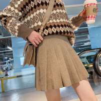 skirt Autumn 2020 S,M,L,XL Khaki, black, dark grey, light camel Short skirt Versatile High waist Pleated skirt Solid color Type A 18-24 years old 91% (inclusive) - 95% (inclusive) Wool Other / other other