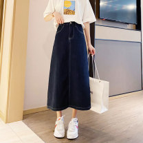 skirt Spring 2021 S,M,L,XL Navy blue, black Mid length dress Versatile High waist A-line skirt Solid color Type A 18-24 years old 91% (inclusive) - 95% (inclusive) Denim Other / other cotton Make old