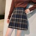 skirt Autumn 2020 S,M,L,XL Navy, blue, dark green, dark gray, coffee Short skirt Versatile High waist A-line skirt lattice Type A 18-24 years old More than 95% Wool Other / other other