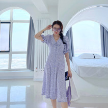 Dress Summer 2021 Broken purple flowers S,M,L longuette Sweet A-line skirt 18-24 years old Type A 31% (inclusive) - 50% (inclusive)
