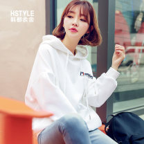 Sweater / sweater Spring 2020 Black, white, red, green S,L,M,XS Long sleeves routine Socket singleton  Plush Hood easy commute routine letter 18-24 years old 71% (inclusive) - 80% (inclusive) Hstyle / handu clothing house Korean version cotton GY9745 Pocket, print