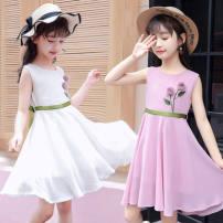 Dress White (cotton hemp), pink purple (cotton hemp), white (Chiffon), pink purple (Chiffon), little Marbury skirt female Other / other 110cm,120cm,130cm,140cm,150cm,160cm,170cm Other 100% summer Korean version Long sleeves other other other Class B