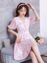 Dress Summer 2020 Green, pink S. M, l, XL, XXL, XXL Middle-skirt singleton  Short sleeve Sweet V-neck middle-waisted Broken flowers Socket A-line skirt puff sleeve Others 25-29 years old Type A The beauty of qianfei printing 71% (inclusive) - 80% (inclusive) Chiffon other