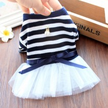 Pet clothing / raincoat currency Dress XS - about 1.5-2 kg, s - about 2.5-3.5 kg, M - about 4-5.5 kg, L - about 6-8 kg, XL - about 8.5-11 kg Dogbaby princess Pearl Pendant skirt - Navy bar, pearl pendant skirt - coffee bar, white bow tie skirt - yellow bar, white bow tie skirt - gray blue bar Others