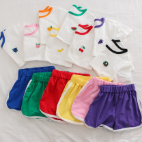 suit Other / other Red cherry, blue blueberry, green watermelon, black kiwi, orange, pink peach, yellow banana, purple grape 90cm,100cm,110cm,120cm,130cm,140cm neutral summer leisure time Short sleeve + pants 2 pieces routine There are models in the real shooting Socket cotton