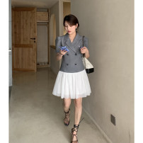 Dress commute other Type H Korean version Summer 2021 Middle-skirt singleton  Short sleeve tailored collar Solid color middle-waisted 25-29 years old double-breasted routine 51% (inclusive) - 70% (inclusive) polyester fiber Other D210517 Button other S,M,L