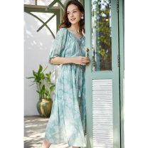Dress Summer 2020 S M L Mid length dress singleton  elbow sleeve commute V-neck Socket A-line skirt bishop sleeve Others 25-29 years old Type A Artka More than 95% other Other 100%