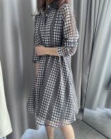 Dress Spring 2021 Grey check S,M,L,XL longuette singleton  Long sleeves Sweet Crew neck middle-waisted lattice Socket other Others Type H DEAR JANE'S COLLECTION More than 95% Chiffon polyester fiber