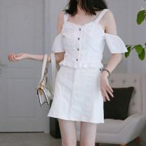 Fashion suit Summer 2020 XS,S,M,L,XL,XXL White suit, blue suit, white top piece, blue top piece, white skirt piece, blue skirt piece DEAR JANE'S COLLECTION